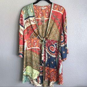 Cabi Boho Tie Front Patchwork Kimono Tunic